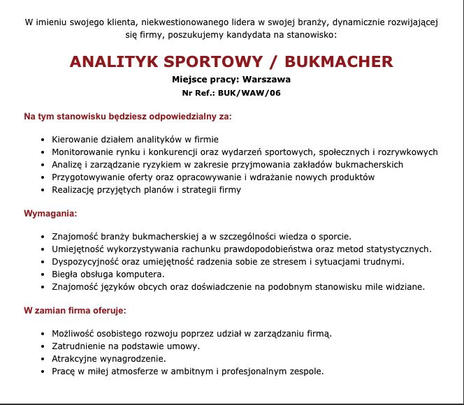 oferta pracy analityk bukmacherski