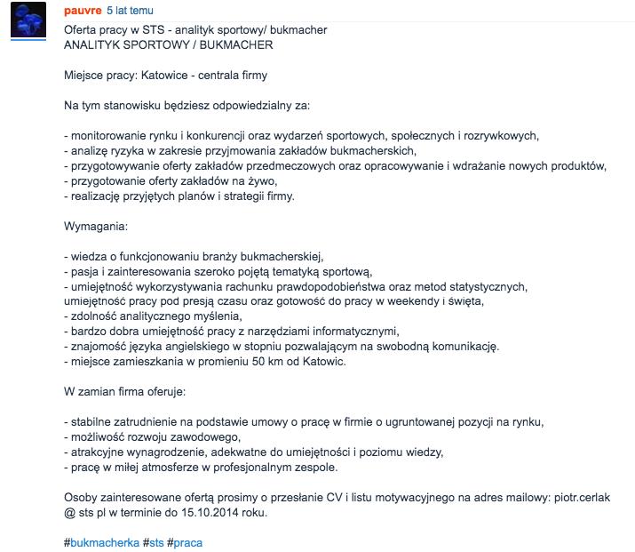 oferta pracy analityk bukmacherski sts