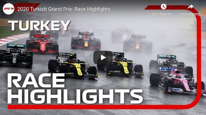 Grand Prix Turcji 2020 F1 skrót