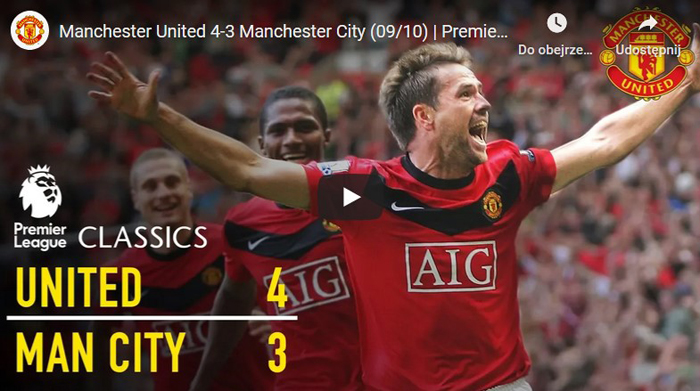 Michael Owen zwycięski gol Manchester United City 4-3 2010