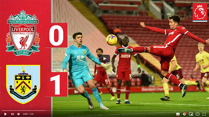 Liverpool Burnley 0-1 skrót meczu Premier League 2020-2021