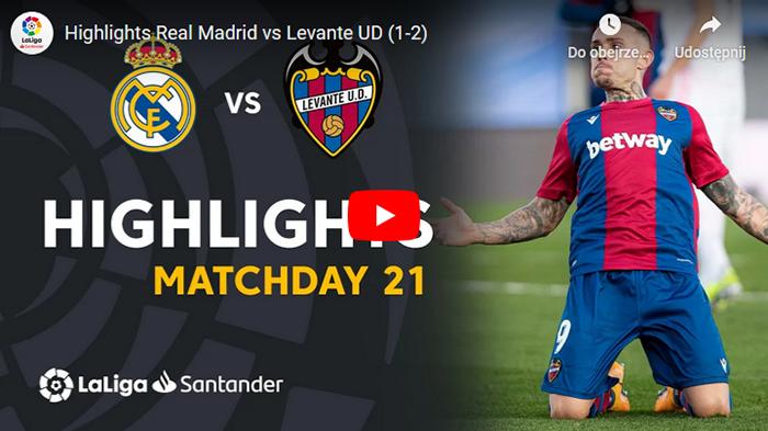 Real Madryt Levante 1-2 2020-2021 La Liga skrót meczu
