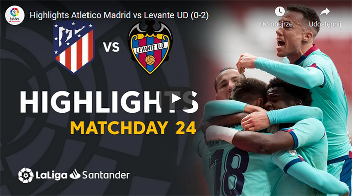 Atletico Madryt Levante 0-2 2020-2021 skrót meczu