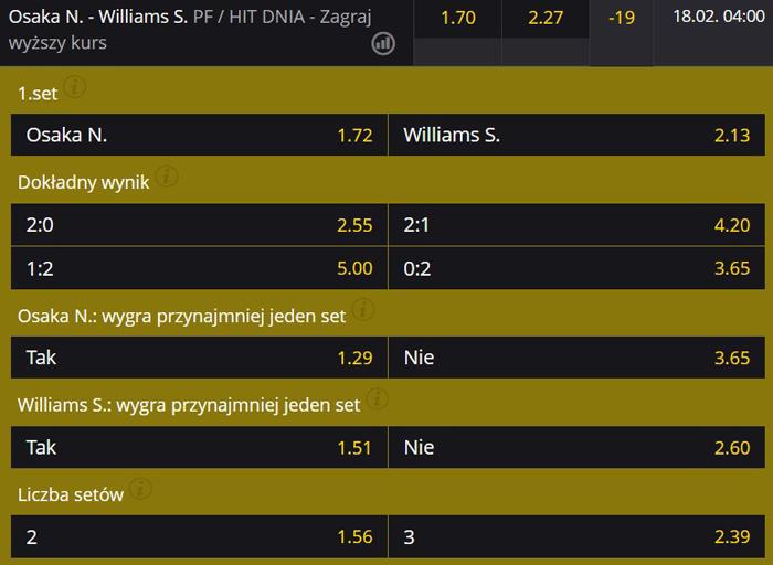 Naomi Osaka Serena Williams Australian Open 2021 kobiet oferty bukmacherów